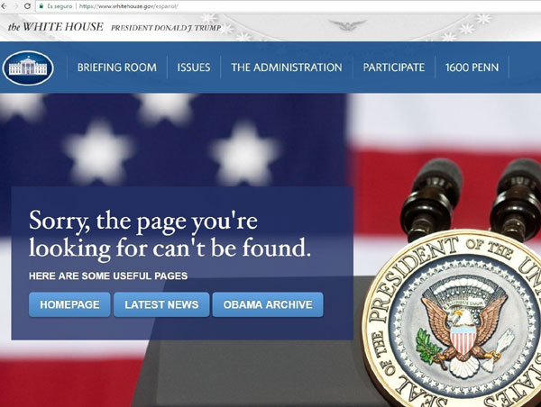Queda eliminada la versión en español de la página web de Casa Blanca