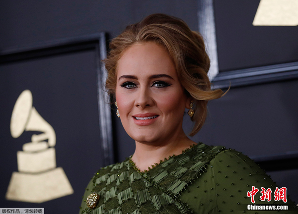 Adele à la 59ème cérémonie des Grammy Awards le 12 février 2017
