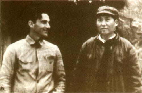 Edgar Snow(L) and Mao Zedong
