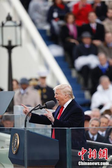 """""""特朗普发表就职演说。"""