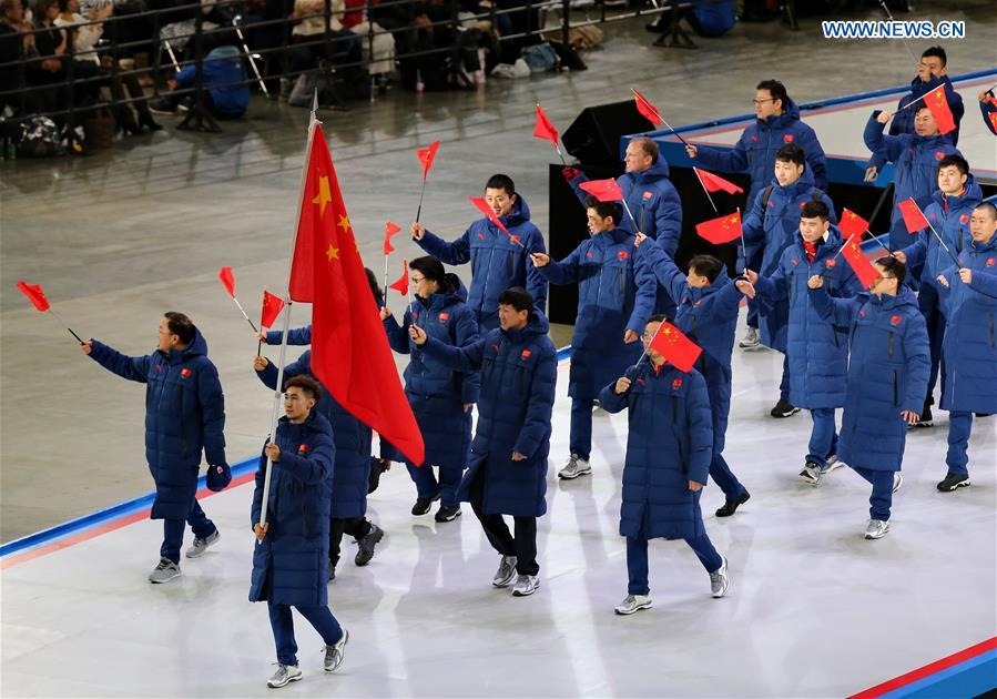 The delegation of China march in during the opening ceremony of the Asian Winter Games in Sapporo, northern Japan, Feb. 19, 2017. (Xinhua/Yang Shiyao)