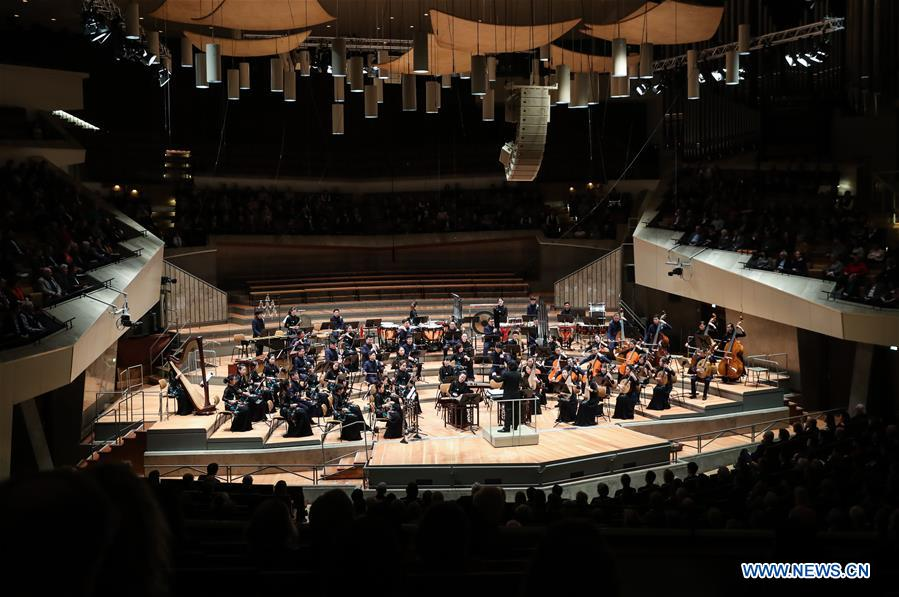Photo taken on Feb. 20, 2017 shows the Chinese New Year Concert 2017 at Berlin Philharmonie in Berlin, capital of Germany. The Chinese New Year Concert 2017 performed by Guangdong National Orchestra of China kicked off on Monday. A series of cultural activities will be held to commemorate the 45th anniversary of the establishment of the Chinese-German diplomatic relations. (Xinhua/Shan Yuqi)
