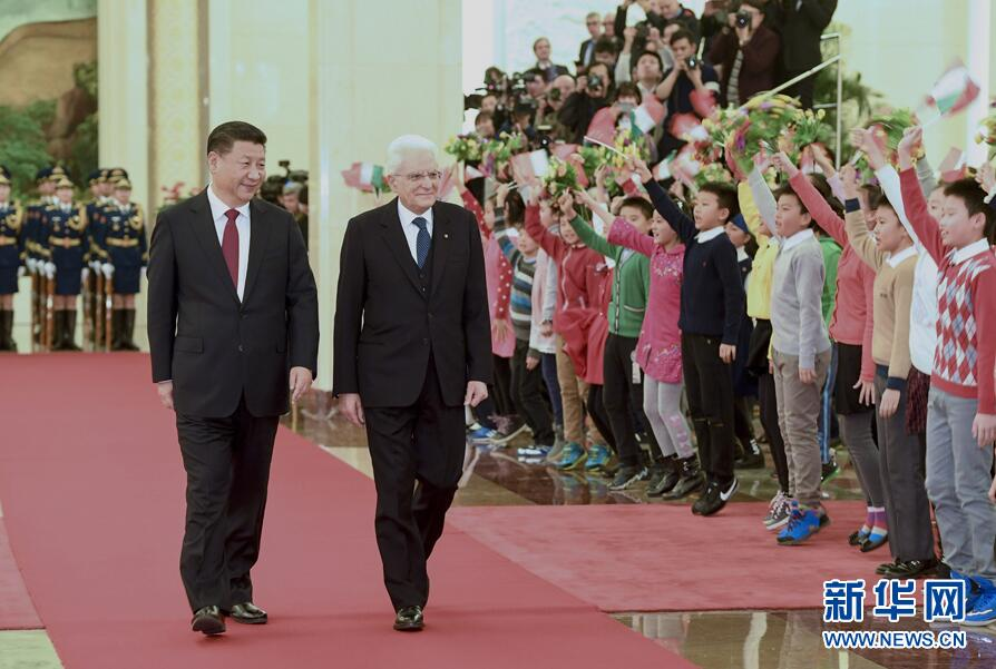 Le président Xi Jinping reçoit son homologue italien à Beijing