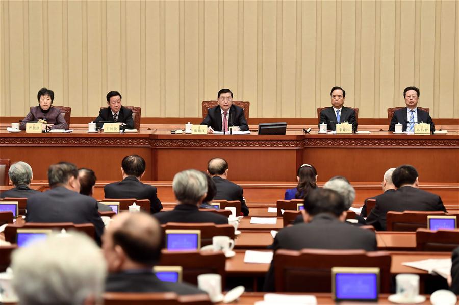 Zhang Dejiang (C, back), chairman of the Standing Committee of China