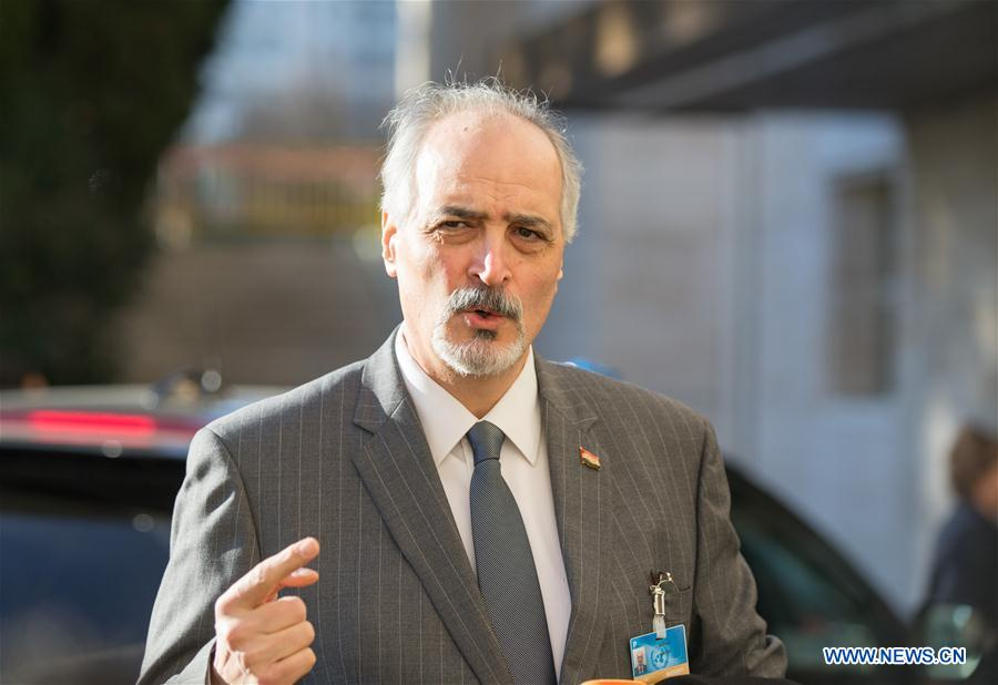 Syrian Ambassador to the United Nations and head of the government delegation Bashar al-Jaafari addresses media while arriving for a meeting of Intra-Syria peace talks with UN Special Envoy for Syria Staffan de Mistura at Palais des Nations in Geneva, Switzerland, Feb. 25, 2017. The UN-mediated latest round of intra-Syrian peace talks went into the third day in Geneva Saturday as UN Special Envoy for Syria Staffan De Mistura held a meeting with Syrian government delegation. (Xinhua/Xu Jinquan)