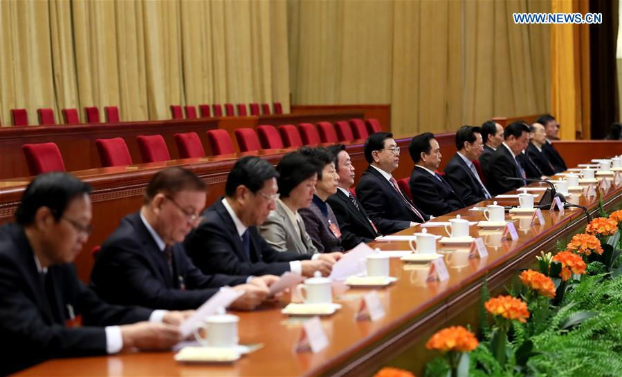 Zhang Dejiang (7th L), chairman of the Standing Committee of China
