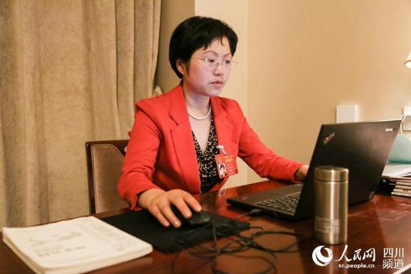 全国人大代表、成都大熊猫繁育研究基地研究中心主任侯蓉正在准备议案。(朱虹 摄)