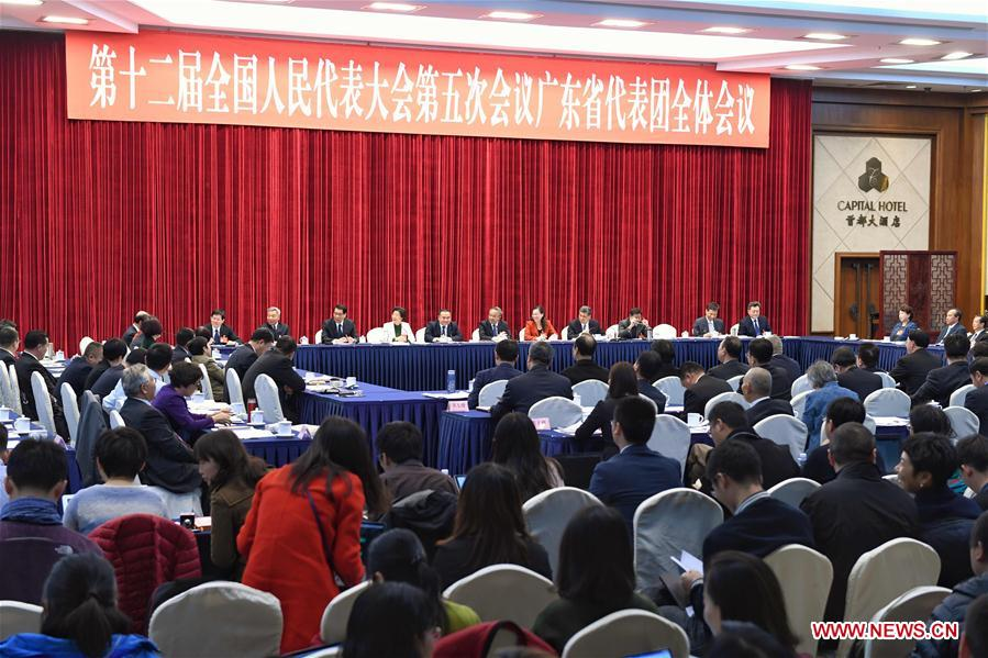 Photo taken on March 6, 2017 shows the scene of a plenary meeting of the 12th National People