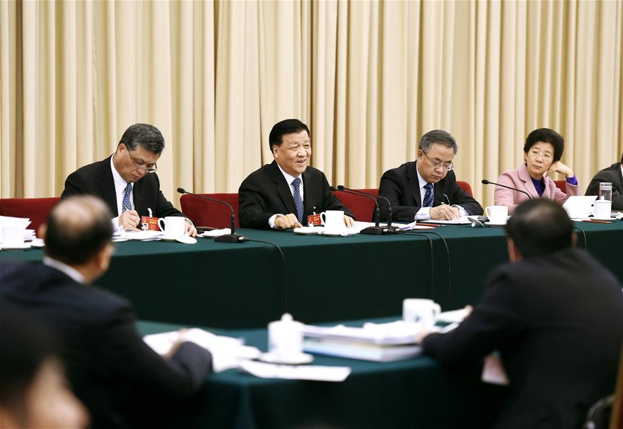 Liu Yunshan, a member of the Standing Committee of the Political Bureau of the Communist Party of China (CPC) Central Committee, joins a panel discussion with deputies to the 12th National People