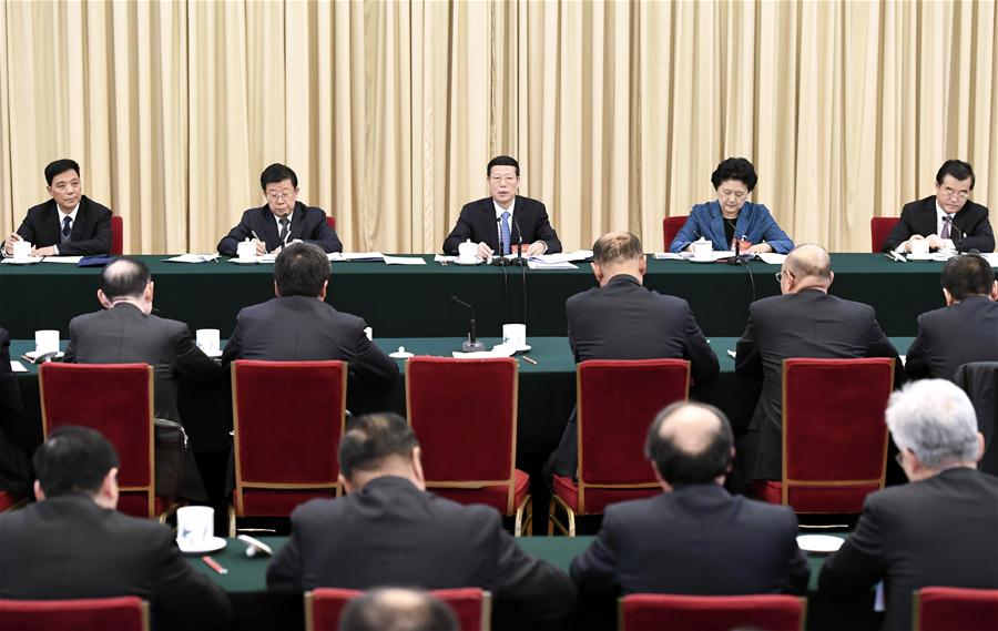 Chinese Vice Premier Zhang Gaoli joins a panel discussion with deputies to the 12th National People
