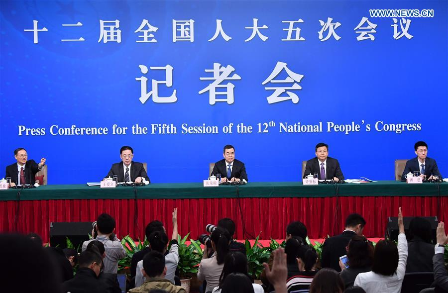Zhang Rongshun and Xu Anbiao, vice-chairmen of the Legislative Affairs Commission of the National People