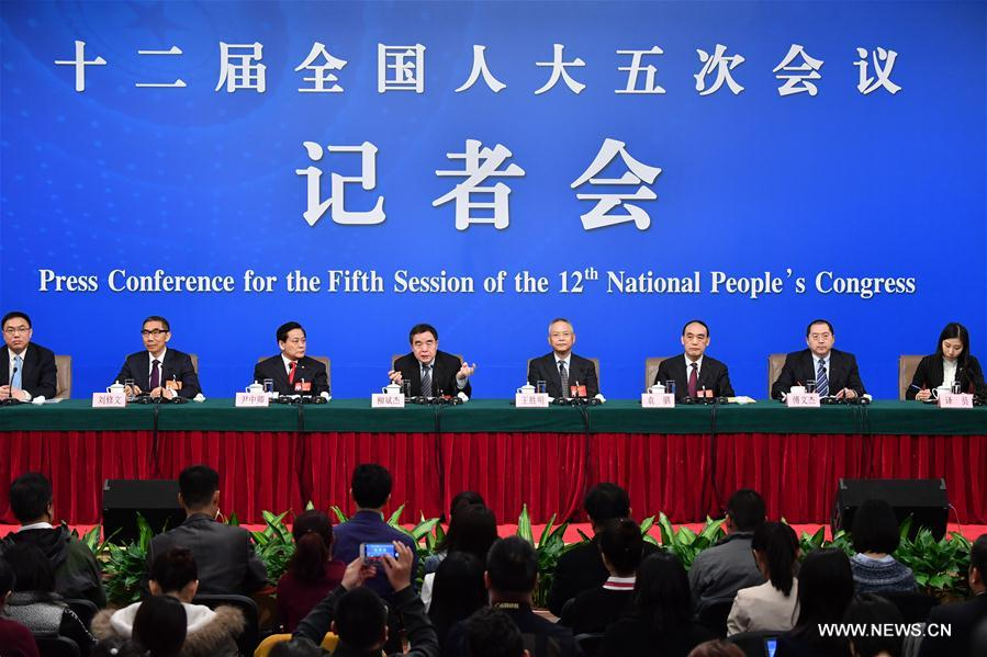 Liu Binjie, chairman of the Education, Science, Culture and Public Health Committee of the National People's Congress (NPC), Wang Shengming, vice-chairman of Internal and Judicial Affairs Committee of the NPC, Yin Zhongqing, vice-chairman of Finance Committee of the NPC, Yuan Si, vice-chairman of the Environment Protection and Resources Conservation Committee of the NPC, Liu Xiuwen, deputy director of the Budgetary Affairs Commission of the NPC Standing Committee and Fu Wenjie, inspector of the Bureau of Secretaries of the NPC Standing Committee attend a press conference on the NPC