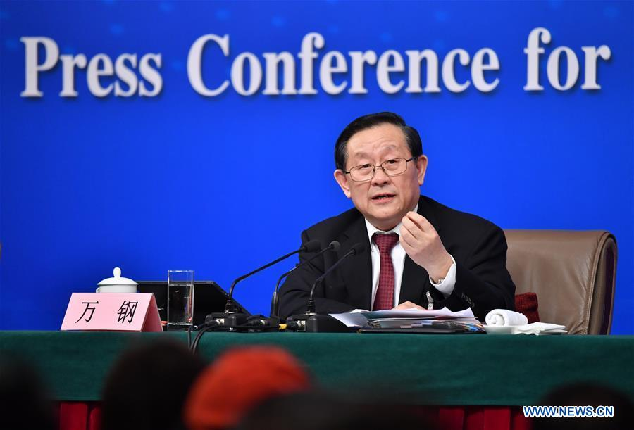 Chinese Science and Technology Minister Wan Gang answers questions on innovation-driven development at a press conference for the fifth session of the 12th National People