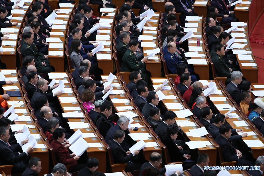 La quinta sesión del XII Comité Nacional de la Conferencia Consultiva Política del Pueblo Chino comienza su conferencia de clausura el lunes en Beijing. (Xinhua/Wang Ye)