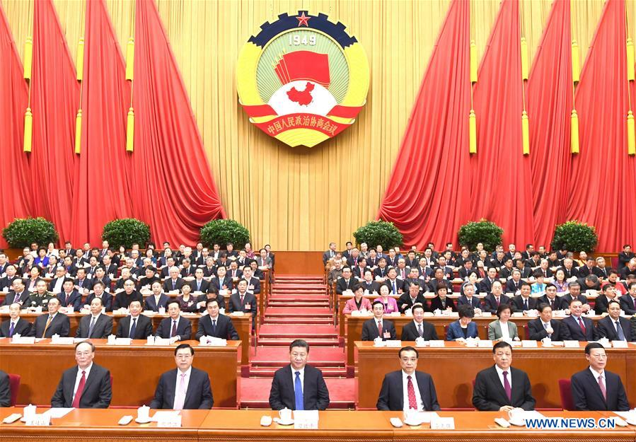 Xi Jinping (3rd L, front), Li Keqiang (3rd R, front), Zhang Dejiang (2nd L, front), Liu Yunshan (2nd R, front), Wang Qishan (1st L, front) and Zhang Gaoli (1st R, front) attend the closing meeting of the fifth session of the 12th National Committee of the Chinese People