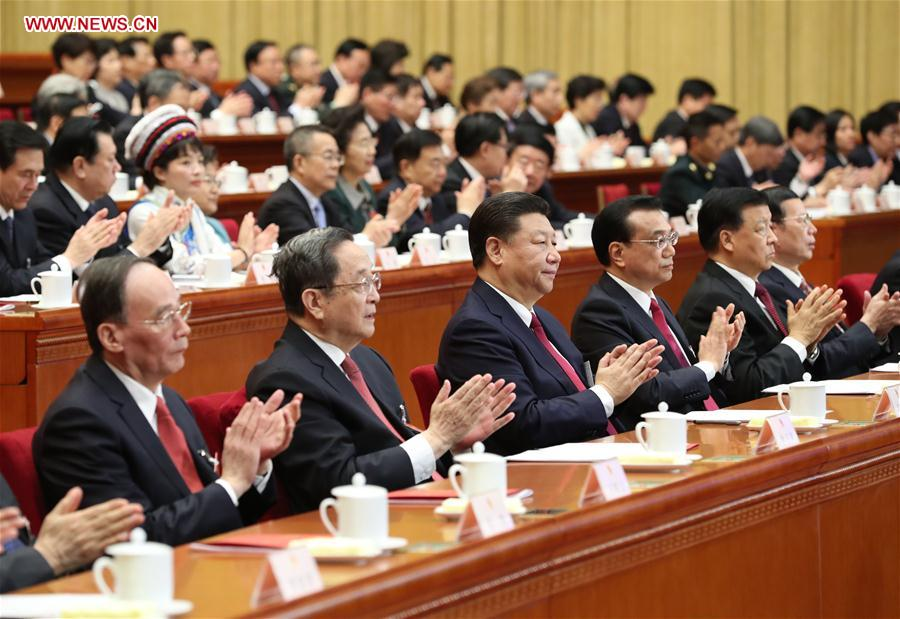 Top Communist Party of China and state leaders Xi Jinping, Li Keqiang, Yu Zhengsheng, Liu Yunshan, Wang Qishan and Zhang Gaoli attend the closing meeting of the fifth session of the 12th National People