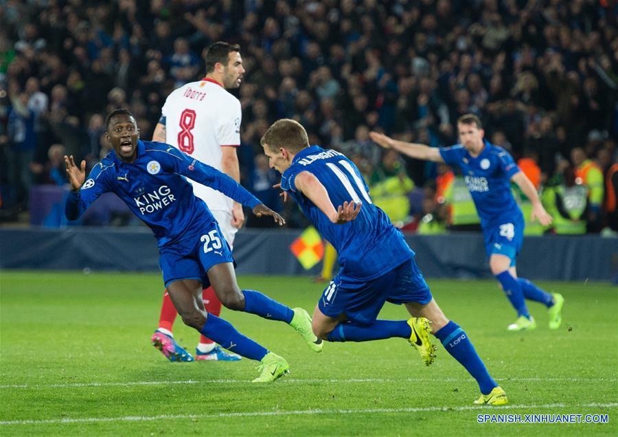 El Leicester City de Inglaterra derrotó al Sevilla de España por 2-0 (3-2, en el global) en la vuelta de los octavos de final de la Liga de Campeones de Europa.