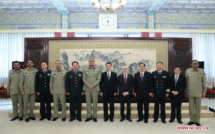 Chinese Vice Premier Zhang Gaoli (6th R) meets with Pakistan Army Chief General Qamar Javed Bajwa in Beijing, capital of China, March 16, 2017. (Xinhua/Wang Ye)