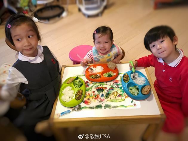 陈浩民三个孩子吃饭乖巧可爱
