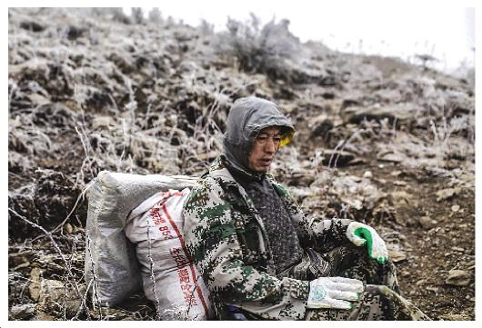 山势险峻,高寒缺氧,巡山队员余友志每爬一小段,就不得不坐下来大口喘着粗气。