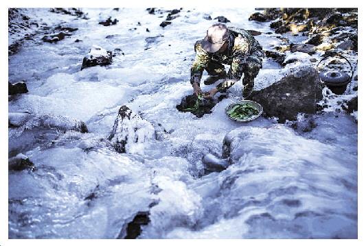 巡山队员们在封冻溪流的冰面上打洞取水。