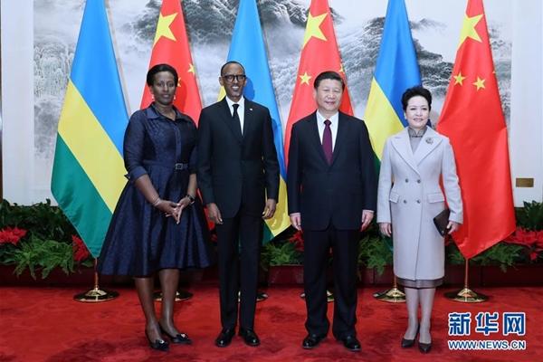 الرئيس الصيني يلتقي مع رئيس رواندا
