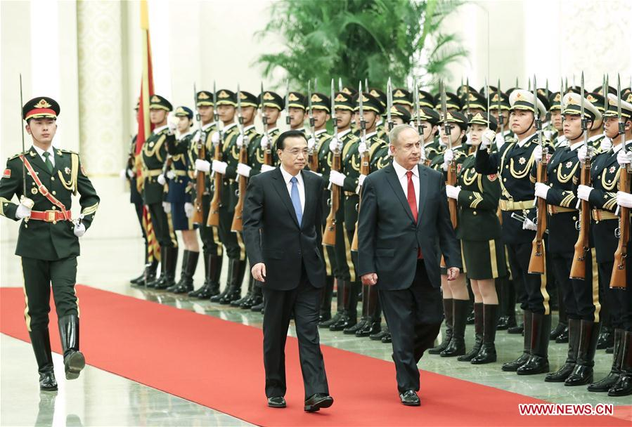 Chinese Premier Li Keqiang holds a welcome ceremony for visiting Israeli Prime Minister Benjamin Netanyahu before their talks in Beijing, capital of China, March 20, 2017. (Xinhua/Pang Xinglei)