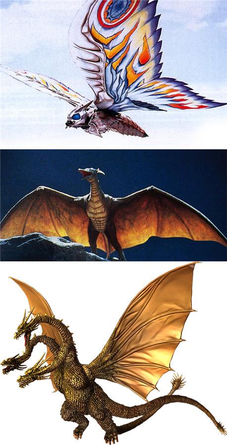 """上中下分别是似蛾子的魔斯拉(Mothra)、巨型""""无齿翼龙""""拉顿(Rodan),以及""""哥斯拉最强对手""""基多拉(Ghidrah)"""