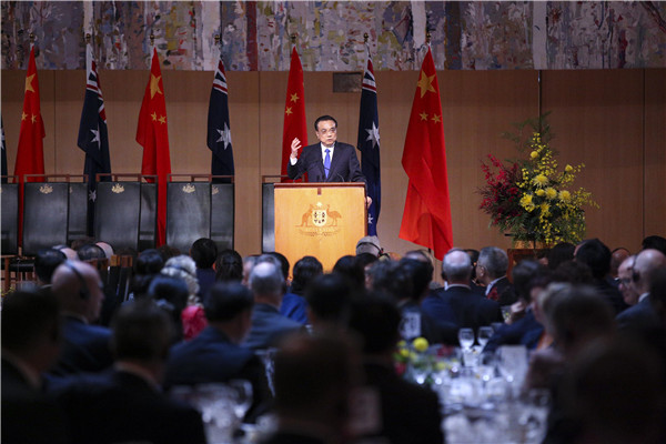 The Premier delivered the speech at a welcoming ceremony held by his Australian counterpart, Malcolm Turnbull.