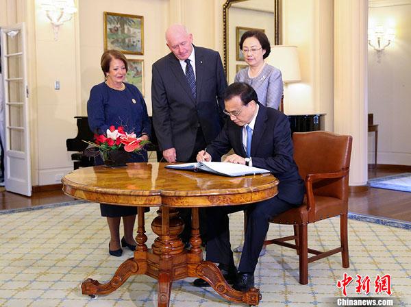 Le Premier ministre chinois rencontre des dirigeants australiens pour approfondir les relations économiques