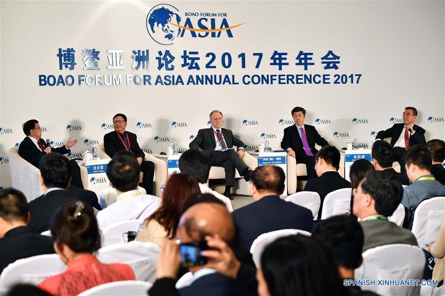 """BOAO, marzo 26, 2017 (Xinhua) -- La sesión """"Mirando la Economía desde el Lado de la Oferta"""" se lleva a cabo durante la Conferencia Anual del Foro de Boao para Asia (FBA) 2017, en Boao, en la provincia de Hainan, en el sur de China, el 26 de marzo de 2017. (Xinhua/Guo Cheng)"""