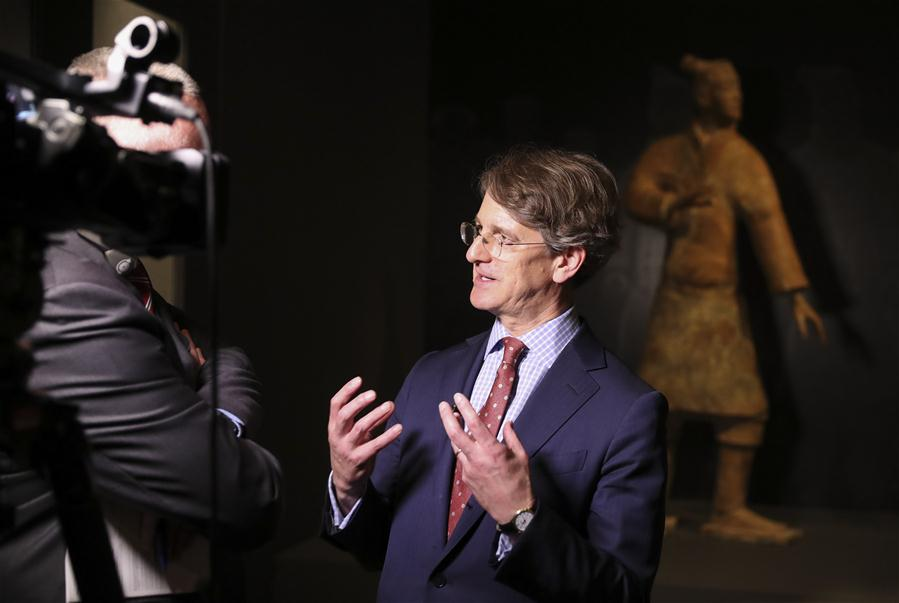 Thomas P. Campbell, Director of The Metropolitan Museum of Art, talks to media during a media preview of the Exhibition of Civilization of the Qin and Han Dynasties (221 B.C.-220 A.D.) in The Metropolitan Museum of Art, New York, the United States, on March 27, 2017. The exhibition featuring more than 160 objects of ancient Chinese art, will be opened to public from April 3 to July 16 in The Metropolitan Museum of Art. (Xinhua/Wang Ying)