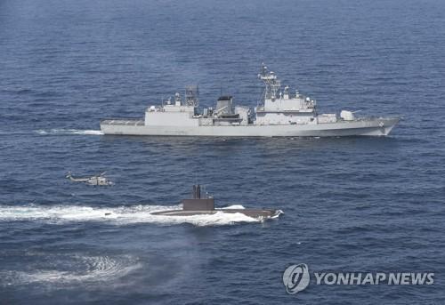 资料图片:韩国海军反潜演习照。(图片来源:韩联社)