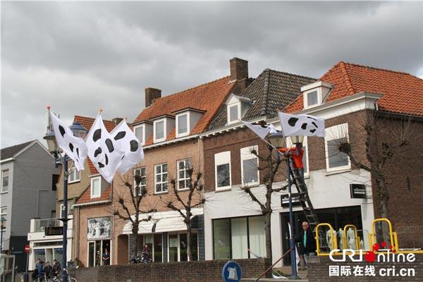雷嫩市主要街道悬挂的熊猫旗帜