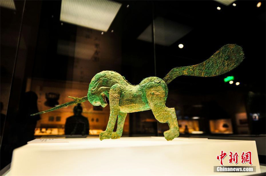 A bronze unicorn from Han Dynasty (206 BC-220) is a highlight at the exhibition of antiques collected from the Ancient Tea Horse Route at Liaoning Provincial Museum in Shenyang, capital of Northeast China