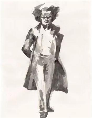 雕塑家霍波洋-创作雕塑《贝多芬》的手稿