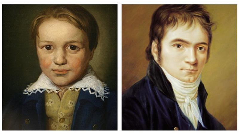 ▲左图:1783年,8岁的贝多芬;右图:1803年的贝多芬,那时他正在创作《英雄》交响曲(画家:克里斯汀·霍纳曼)