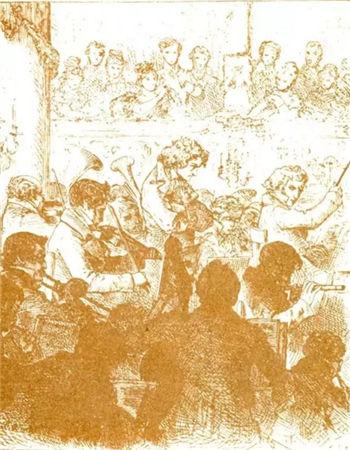 """▲1824年,贝多芬《第九交响乐》的首场演出。 贝多芬的耳聋已达到完全听不见观众喝彩的程度,他不得不被引上前直接""""看""""鼓掌。"""