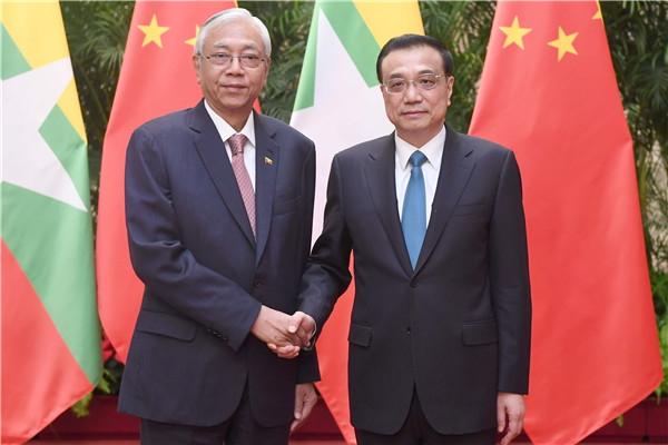 Premier Li Keqiang met visiting Myanmar President U Htin Kyaw on April 10 in Beijing.