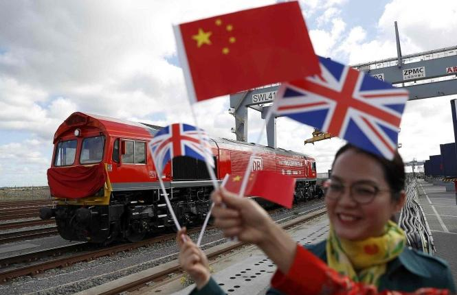 The first freight train to run from Britain to China left a depot in Essex on Monday to start its 12,000-kilometer journey to Yiwu, east China's Zhejiang Province.
