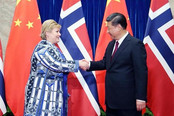 الرئيس الصيني يلتقي برئيسة وزراء النرويج لتعزيز الثقة المشتركة