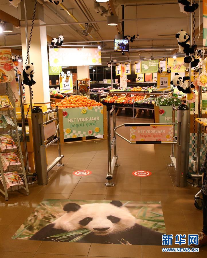 4月5日,在荷兰中部小城雷嫩,一家超市的入口处装饰着熊猫照片和熊猫玩偶。(龚兵 摄)