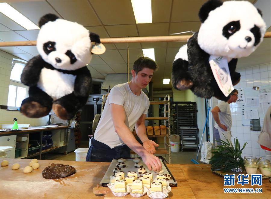 4月5日,在荷兰中部小城雷嫩的一家糕点屋,工作人员在制作熊猫图案的糕点。(龚兵 摄)