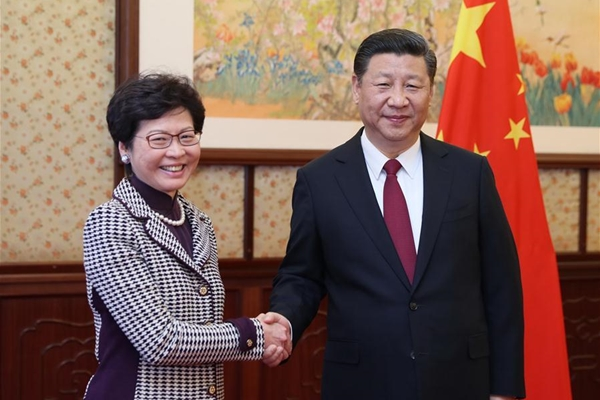 الرئيس الصيني يلتقي بالرئيسية التنفيذية لمنطقة هونغ كونغ الإدارية الخاصة