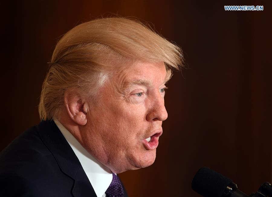 U.S. President Donald Trump addresses a press conference at the White House in Washington D.C., the United States, on April 12, 2017. U.S. President Donald Trump said on Wednesday that his administration won