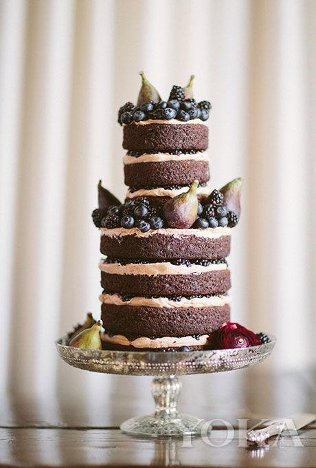 巧克力咖啡蓝莓双层裸蛋糕