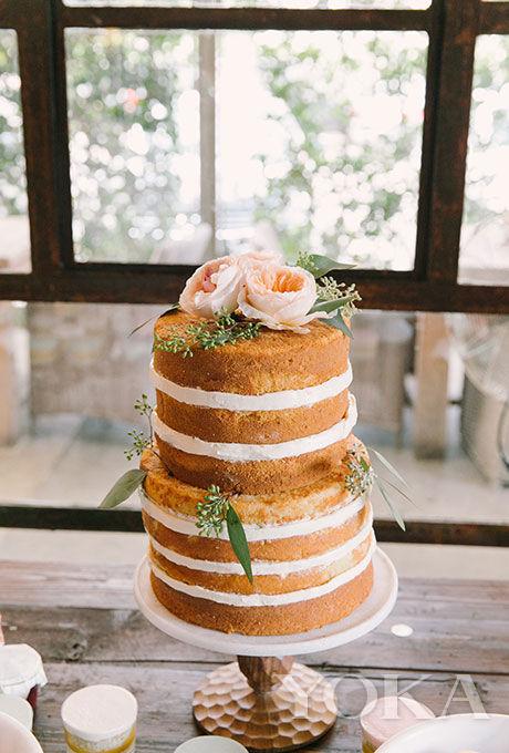 玫瑰花双层裸蛋糕
