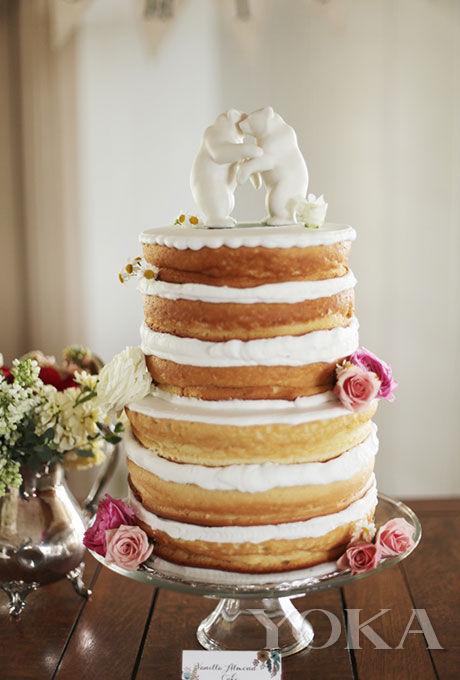 香草玫瑰双层裸蛋糕