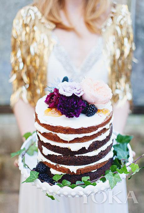 浆果鲜花单层裸蛋糕