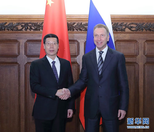Chinese Vice Premier Zhang Gaoli (L) meets with visiting Russian First Deputy Prime Minister Igor Shuvalov in Beijing on Wednesday, April 12, 2017. [Photo: Xinhua]